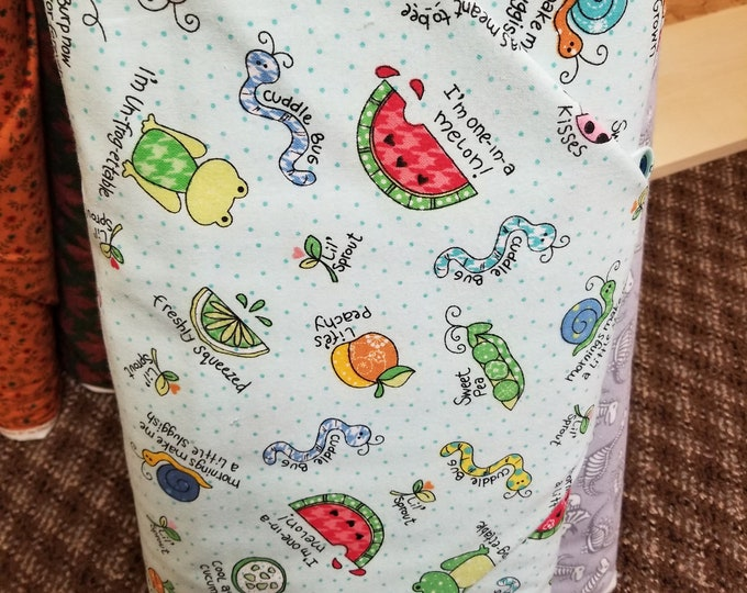 Kids Novelty Themed Flannel. Cut To Order Fabric, Bugs, Dinosaurs, 1412-1424
