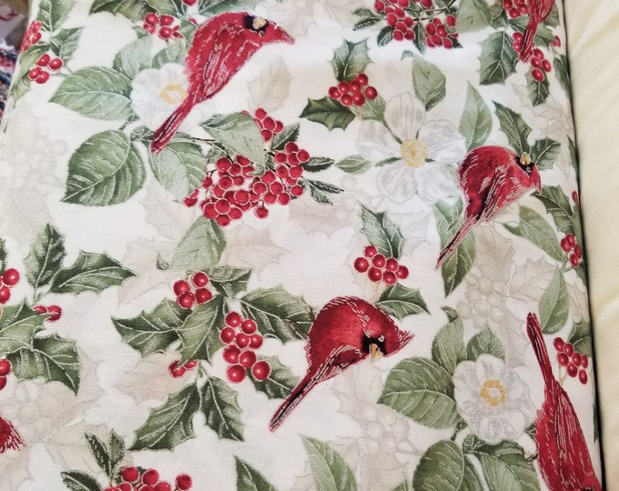 Christmas Birds Quilt Fabric,  Cardinals and Holly Fabric