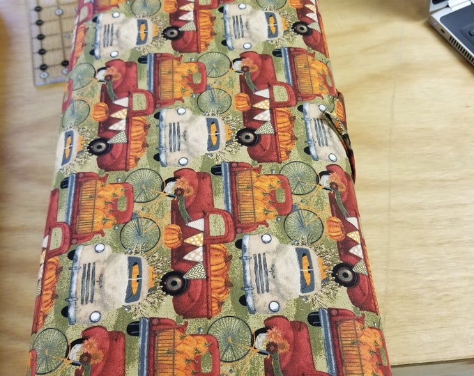 Antique Truck Fall Quilt Fabric,  Thanksgiving Vintage Truck Fabric