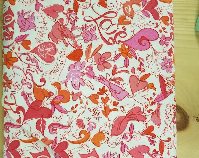 Bird Quilt Fabric,  Valentine Love Bird Fabric
