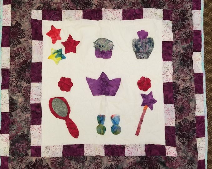 "Princess Quilt, Raw Edge Applique, 35"" x 35"", #2"
