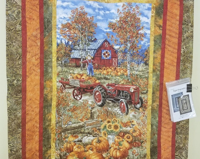 "Fall Farm Tractor Quilt, Pumpkin Patch Quilt, 42"" x 59"""