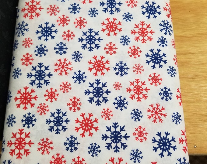 Colorful Snowflake Quilt Fabric,  Wintertime Fabric