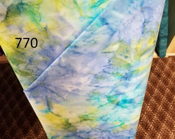 Batik Handpainted Quilt Fabric, Cut to order fabric, Blue, Tie Dye, Purple 770-787