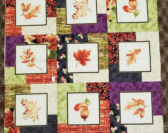 Autumn Spice Fabric Panel, Fall Leaves Quilt Panel