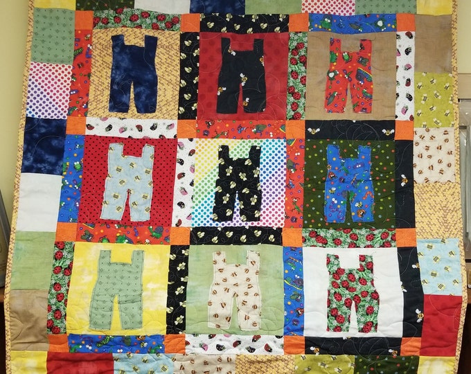 """Handmade Come Out and Play Overall Quilt, Homemade Beautiful Quilted Wall Hanging, Throw, or Lap Quilt, 44"""" x 44"""""""