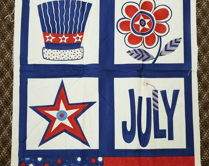July Red, White, and Blue patriotic Quilt Panel, cotton fabric panel, Americana