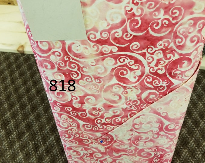 Batik Handpainted Quilt Fabric, Cut to order fabric, Pink, Black, White 818-832