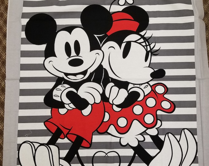 Mickey and Minnie Quilt Panel, Disney Mickey Mouse and Minnie Mouse Fabric Panel