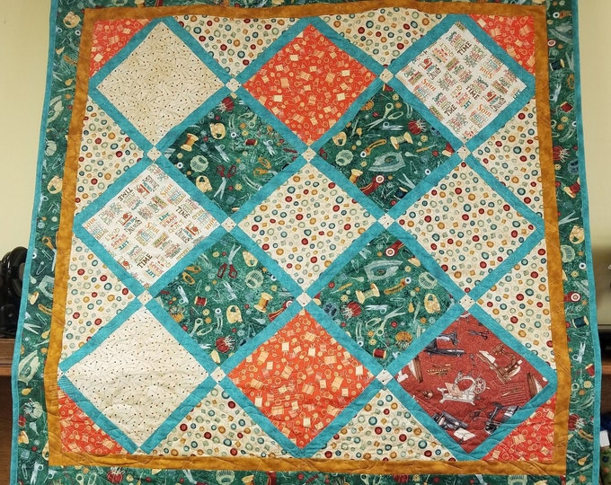"Handmade Stitch In Time Quilt, Homemade Beautiful Quilted Wall Hanging, Throw, or Lap Quilt, 45"" x 45"""