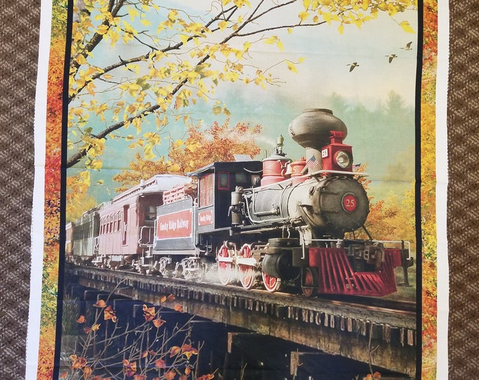 Train Quilt Panel, Antique Steam Train Fabric Panel