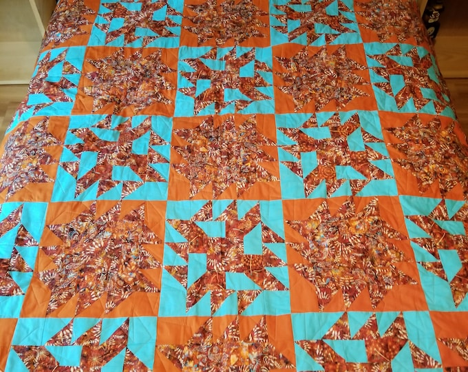 "Sawtooth Handmade Quilt, Homemade Sawtooth Fabric Quilt, 77"" x 65"","