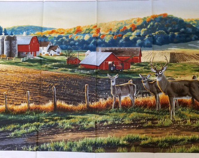 Deer in the Field Quilt Panel, Farmhouse Quilt Panel, Fabric Panel, Quilt Fabric