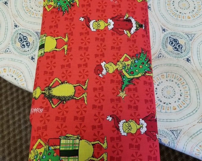Dr Seuss Themed Quilt Fabric, Grinch Fabric, Christmas Fabric