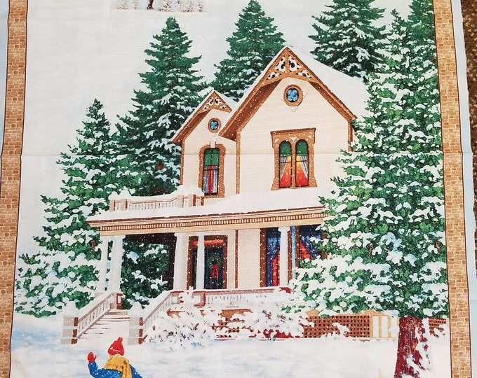 Bringing Christmas Home Panel, Fabric Panel, Quilt Panel