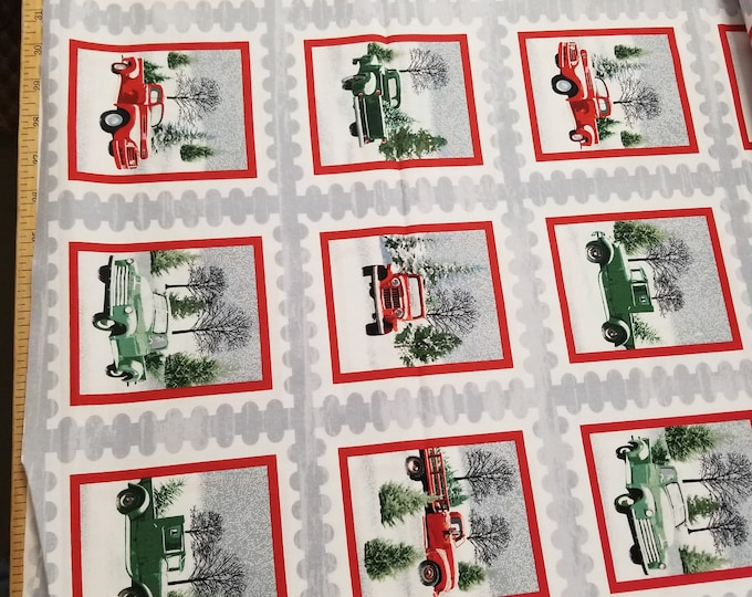 Christmas Antiue Truck and Sleigh Quilt Fabric,  Holiday Heartland Fabric