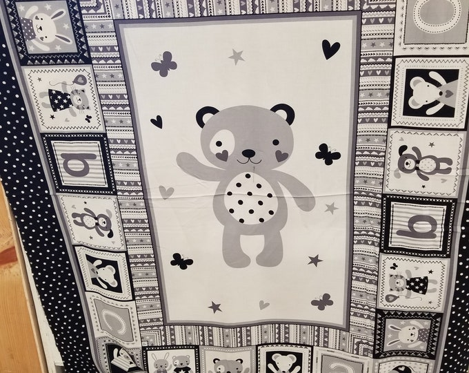 Baby Bear Quilt Panel, Teddy Bear Fabric Panel