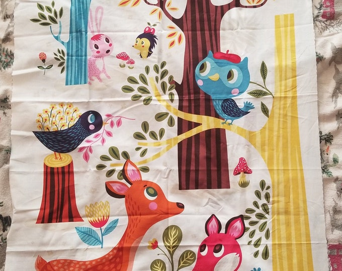 Forest Babes Fabric Panel, Cute Forest Animal Quilt Panel