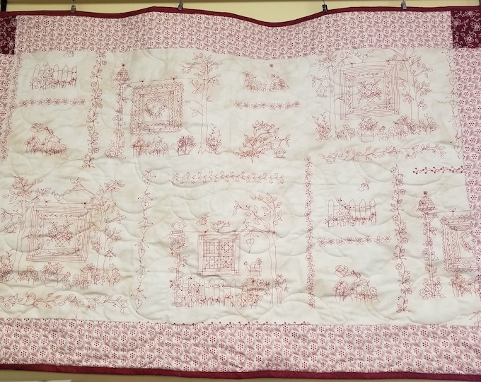 "Handmade Redwork Quilt, Homemade Beautiful Quilted Wall Hanging, Throw, or Lap Quilt, 32"" x 48"""