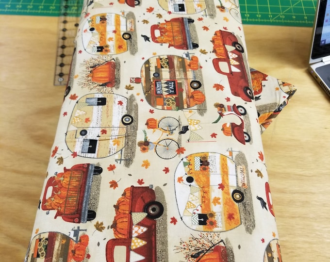 Antique Truck and Camper Fall Quilt Fabric,  Thanksgiving Vintage Truck and Camper Fabric