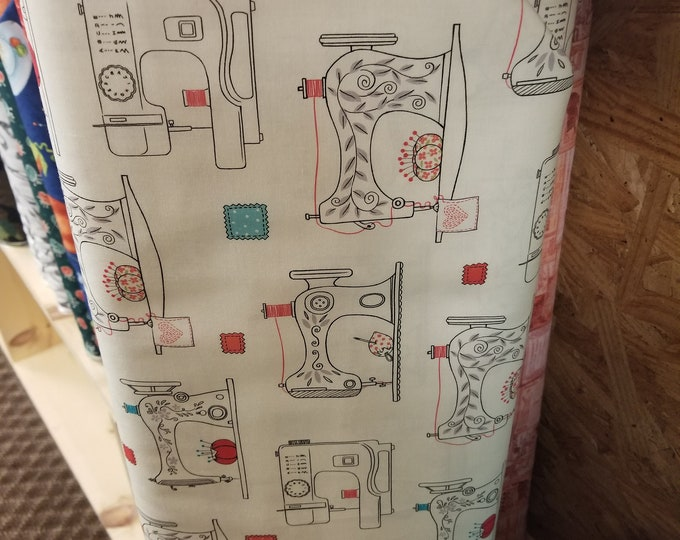 Vintage Sewing Machine Quilt Fabric, Sewing Machine Fabric, Vintage Sewing Fabric