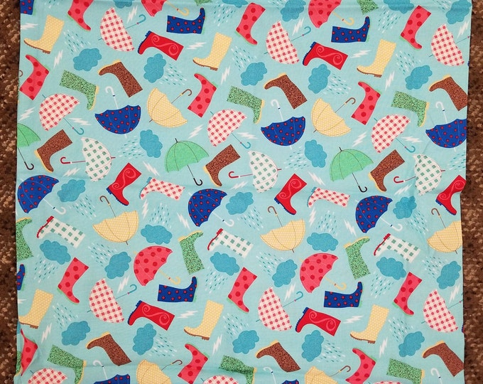 Rainy Day Pillow Case, Boots and Umbrellas Fabric, Standard Pillow Case