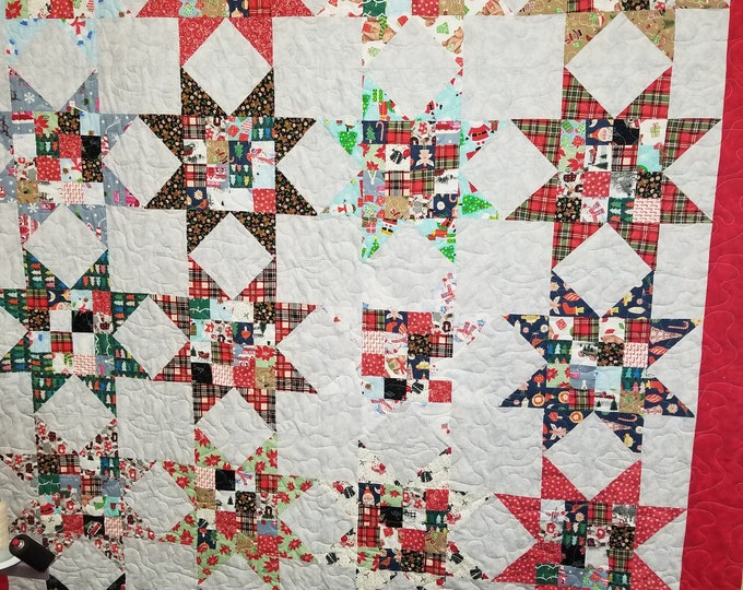 "Christmas Star Handmade Quilt, Homemade Christmas Fabric Quilt, 70"" x 86"","