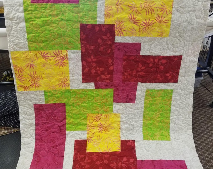 Handmade Color Crush Quilt, Homemade Beautiful Quilted Wall Hanging, Throw, or Lap Quilt