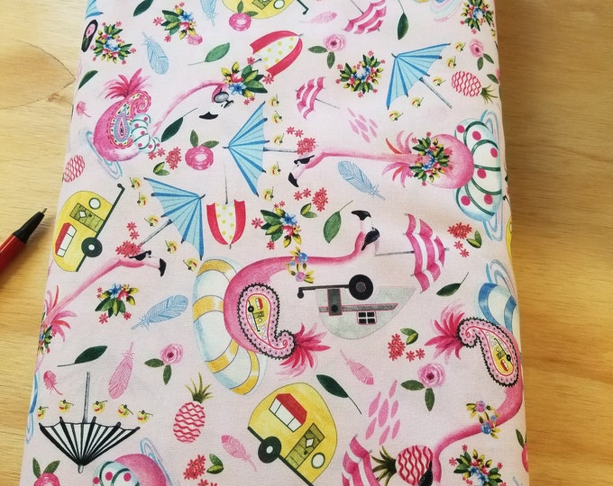 Campers and Pink Flamingo Quilt Fabric, Camping Fabric