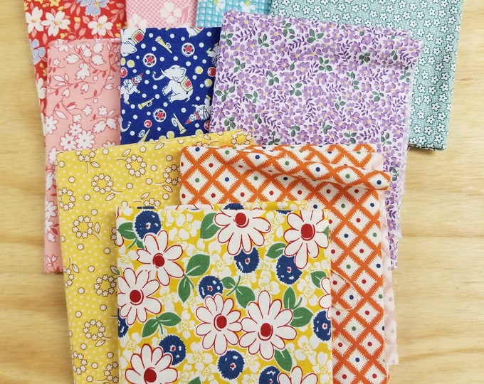 1930's Reproduction Print Fat Quater Bundle of Assorted Fabrics