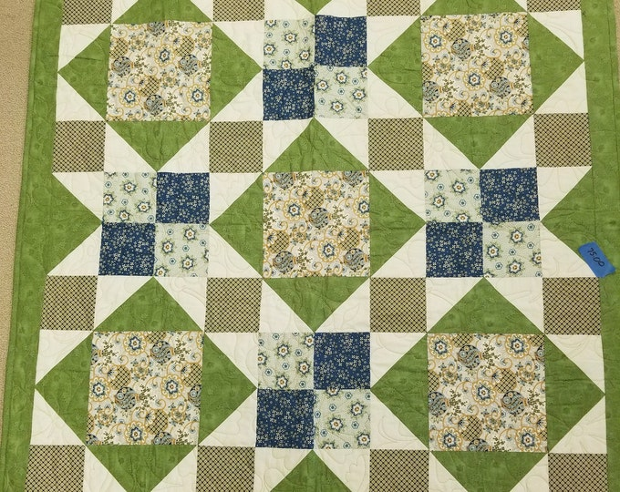 "Green Diamond 4-Patch Handmade Quilt, Homemade Quilt, 48"" x 48"","