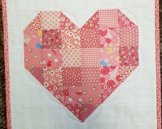 Homemade Valentine's Day Heart Mini Wall Hanging, Handmade Heart Wall Hanging