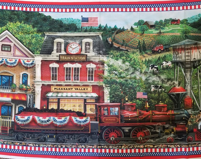 Patriotic Fabric Panel - Independence Day Train Panel - Sweet Land of Liberty Quilt Panel