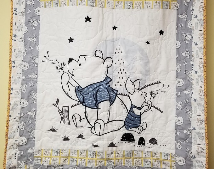 Handmade Winnie the Pooh and Piglet Quilt, Homemade Beautiful Quilted Wall Hanging, Throw, or Lap Quilt