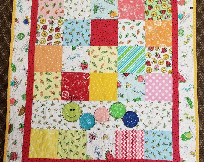 Bug in a Rug Flannel Baby Quilt, Cute Playful Baby Blanket, Crib Quilt