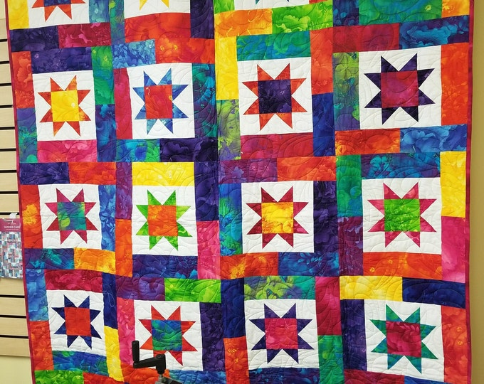 "Lucky Stars Quilt, beautiful, Colorful Quilt, 60"" x 74"""