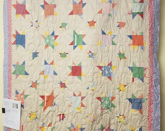 Homemade Twinkling Stars Quilt, Handmade Lap Quilt, Wall Hanging or Throw