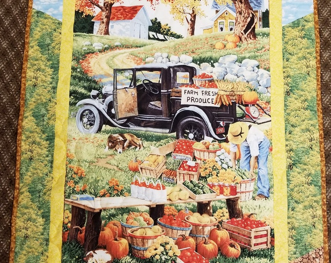 "Handmade Farm Fresh Produce Wall Hanging, Homemade Beautiful Quilted Wall Hanging or Lap Quilt, 50"" x 32"""
