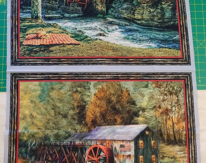 Sawmills, Quilting Treasures Fabrics, Quilt Panel, Digital Prints, Nature Scenes, Fabric Panel