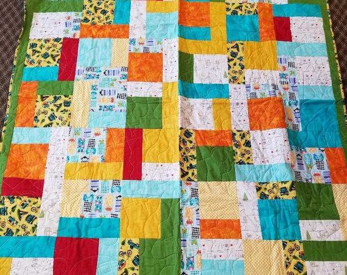 "Summer Camp Homemade Quilt, Beautiful, Handmade Quilt, 55"" x 63"""