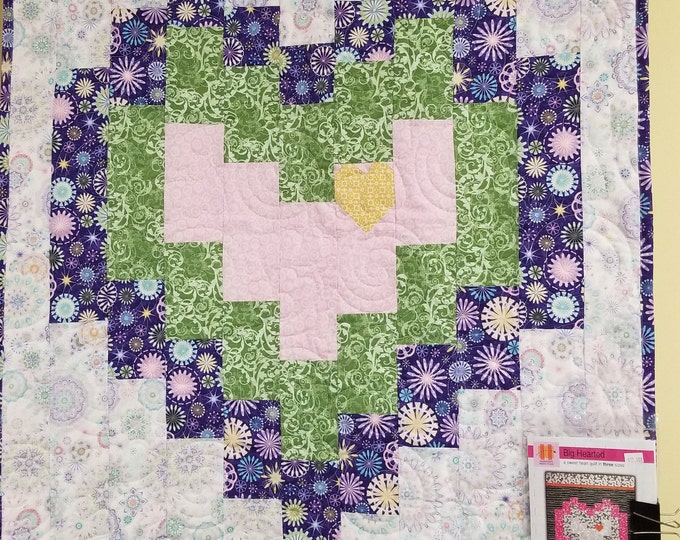 Handmade Big Hearted Lap Quilt, Homemade Beautiful Quilted Wall Hanging or Throw