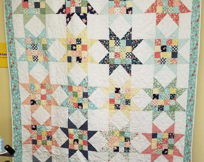 "16 Patch Star Quilt, Beautiful Star Quilt, 64"" x 82"""