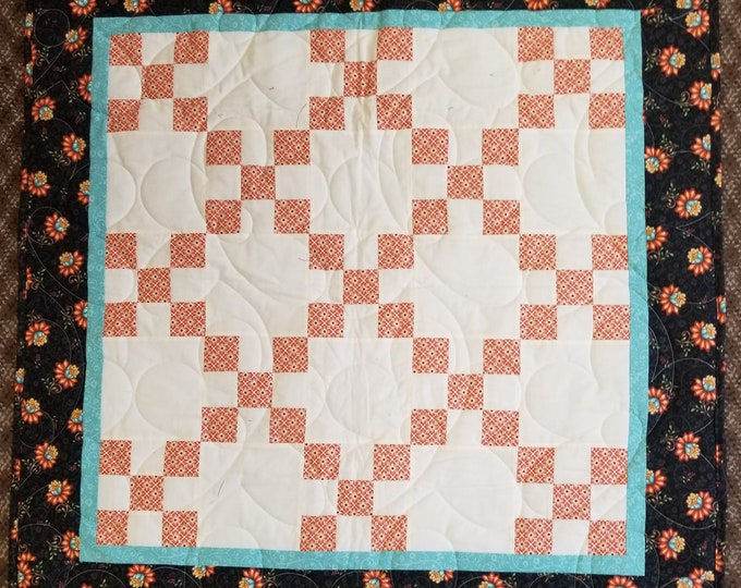 "Handmade Floral Nine Patch Quilt, Homemade Beautiful Quilted Wall Hanging, Throw, or Lap Quilt, 39"" x 39"""