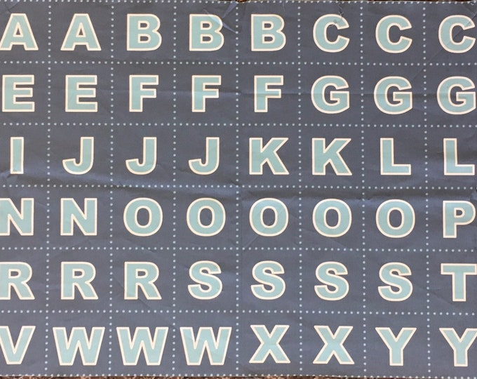 Glow in the Dark Alphabet Fabric Panel, Letter Quilt Panel