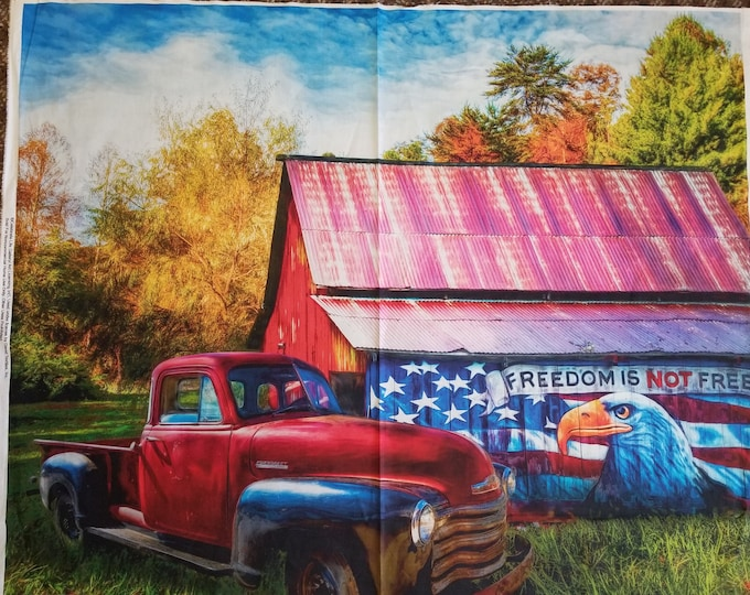 Antique Truck and Barn Quilt Panel, Freedon Is Not Free Fabric Panel
