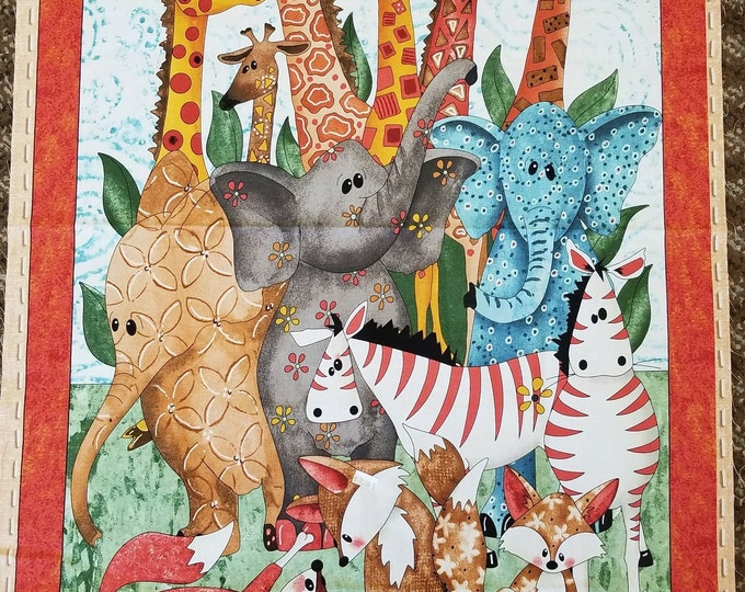 Baby Quilt Panel, Exotic Animals Panel, Quilt Panel, Safari Animals, Elephants, Giraffes, Zebras
