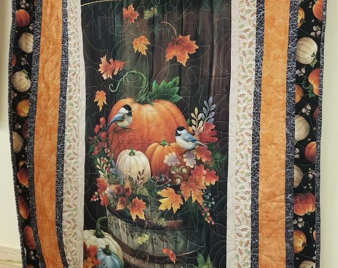 "Homemade Fall Harvest Quilt, Handmade Thanksgiving Quilt, 42"" x 60"""