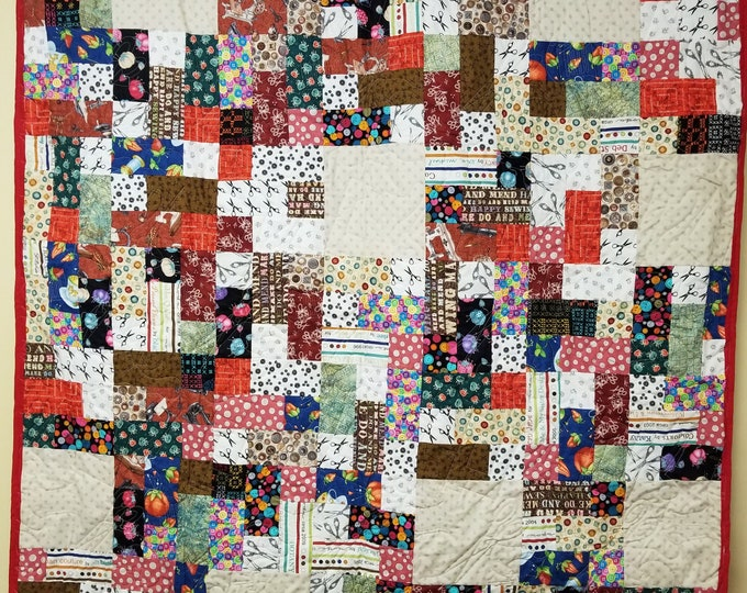 Handmade 3-6-9 Sewing Novelty Quilt, Homemade Beautiful Quilted Queen, Throw, or Lap Quilt