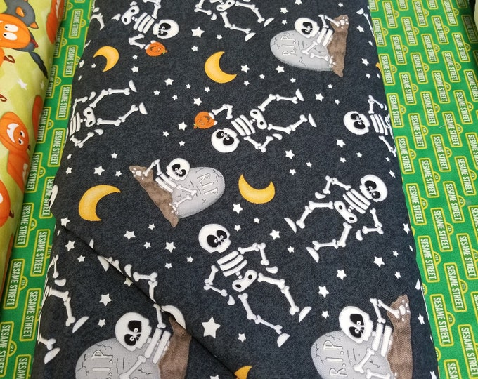 Glow In The Dark Halloween Quilt Fabric, Skeletons and Tombstones Glow In The Dark Fabric