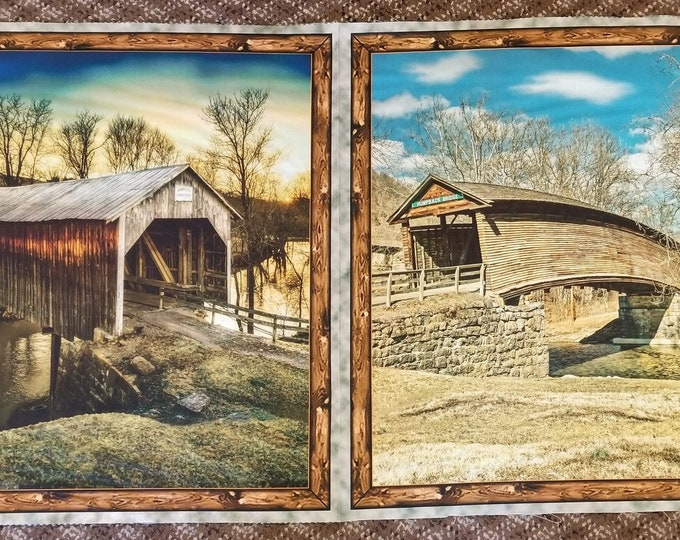Covered Bridges Fabric Panel, Quilt Panel, Covered Bridge Fabric